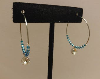 Blue Japanese Glass Seed Bead and Czech Glass, Stainless Steel Hoop Earrings with Swarkofski Element