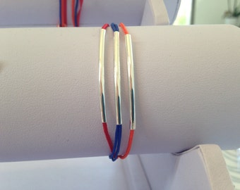Bracelet silver tube with the colors of the Armenia