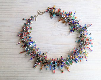 Colorful spikes necklace, statement necklace, summer jewelry, exceptional necklace, one of a kind, unique, special gift for her, gift