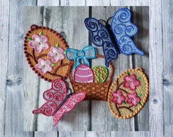 Embroidery lace, lace set, multi-color lace, 10 x 10 frame, spring decoration, sewing for Easter