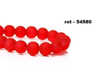 20 beads, glass beads, jewelry beads, frosted, frosted, matt, 6 mm, round, red, white blue, orange, green, olive,