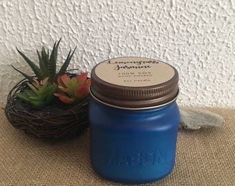 Lemongrass Jasmine Soy Mason Jar Candle - 8 oz // Ocean Blue Sea Glass | Lemongrass Candle | Scented Vegan Candle | Spa Soy Candle
