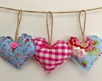 Pink and blue shabby chic floral cotton  decorative padded hearts for home decor, gifts ideas for her,  door & handle decor.