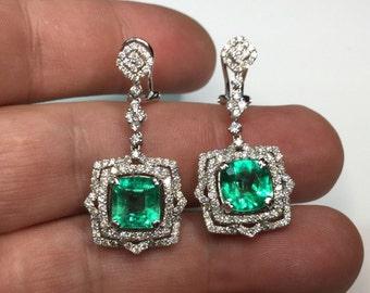 Estate Colombian Emerald & Diamond 8.53 TCW 18K White Gold Dangle Earrings!!!