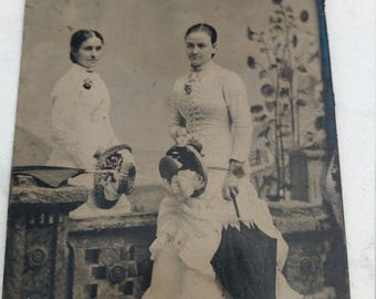 Spring Showers:  Antique Tintype Photograph of Two Women in White With Umbrellas/Parasols