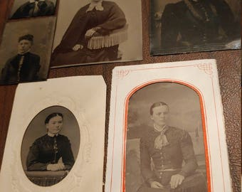 It's All About The Details:  Lot of 6 Antique Tintype Photographs of Women With Ornate Clothing Details