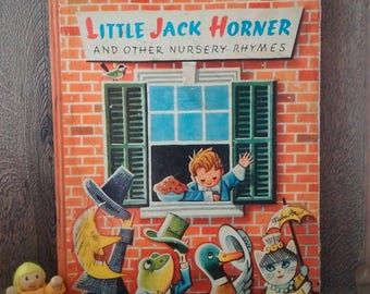 Very rare LITTLE JACK HORNER and Other Nursery Rhymes, 1961 Hamlyn Children's Book of Rhymes, old English book illustrated by Kubasta