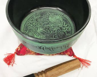 Tibetan 5 Buddha Singing Bowl With Stick and Cushion(850gms, 18cm Dia)-Green