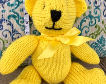 Hand Knitted Yellow Teddy Bear
