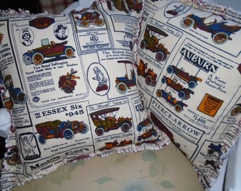 Antique Car Ragged Pillow Covers, Fathers Day Gift. Set of 2