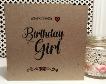 Rustic card, rustic birthday girl, birthday girl card, happy birthday card, rustic birthday card,