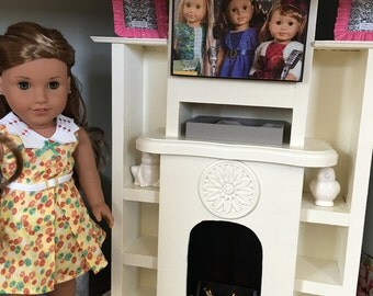 """The Samantha - Combination Fireplace and Entertainment Center for 18"""" Dolls"""