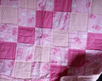 Pink Elephant flannel quilt