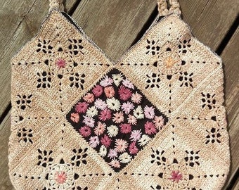 hand made crochet and lace hand bag with lining