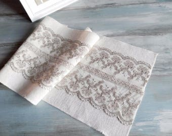 Ivory Burlap Runner 14'' with elegant lace Wedding Burlap runner Choose length