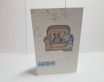 birthday card, greeting card, embossed card, blank card, gift for her, handmade card, gift for him, white card, glitter card,happy birthday,