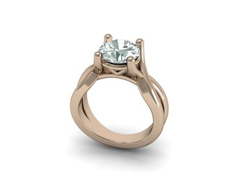 14kt Rose Gold Solitaire , 1ct White Sapphire