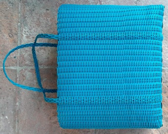 Sturdy Turquoise Plastic Woven Tote Bag / Basket. Handmade in Guatemala. Bright Colors. Ideal for Groceries, Summer Bag Pool / Beach.