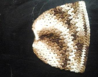 Bun hat verigated brown  and cream