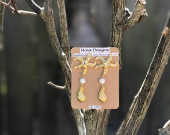 Starfish, pearl and crystal earrings