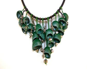 Unusual silk cocoon necklace Statement necklace Green silk cocoon Birthday Gift Cocoon necklace Handmade necklace Silk jewelry Silk necklace