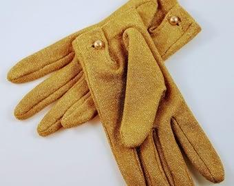 Vintage Gold Lurex Driving Gloves | Lurex Gloves | Driving Gloves | 1950's Gloves |