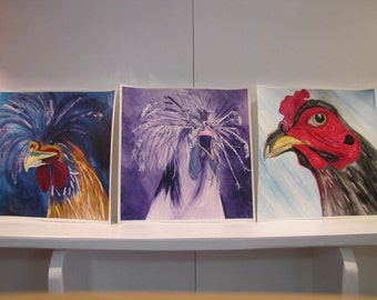 Crazy Rooster Series - Watercolor