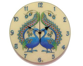 peacock large wall clock silent wall clock bird wall clock blue wall decor