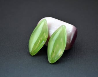 Russian Nephrite (green jade) natural stone cabochons (pair) 29 x 13 x 4 mm