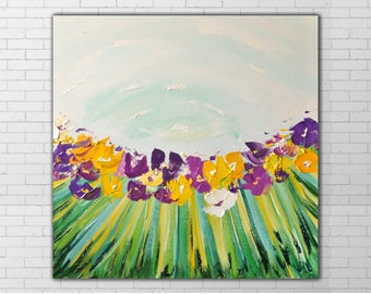 Abstract Bouquet Painting,Bright Flowers,Impasto,Living Room painting,beautiful wall art,canvas wall art, Family Gift, family union, Purple