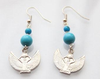 Silver Egyptian Goddess Earrings