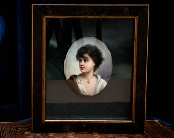 Antique Porcelain Portrait Miniature of a Young Neapolitan - After Gustav Karl Richter