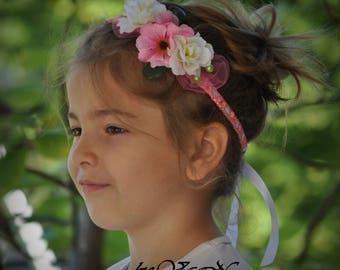 Flower headband Baby girl Hair Accessory  Toddler Headpiece Baby shower Photo prop Newborn to Adult Headband Crochet headband Pink Headband