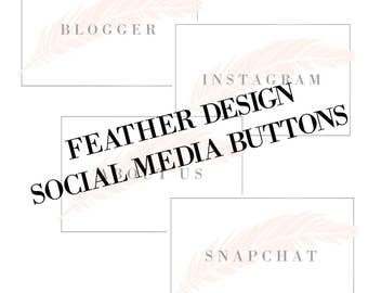 Feather Design Social Media Buttons