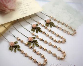 Personalized Bridesmaids gift Pearls and Leaf Necklaces set of Three with light pink flower ivory pearls Personalized Cards vintage wedding