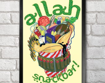 Allah Snackbar Poster Print A3+ 13 x 19 in - 33 x 48 cm  Buy 2 get 1 FREE