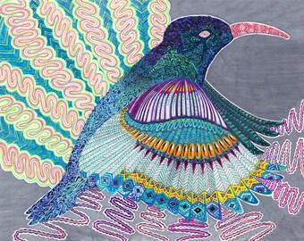 Detailed Shamanic Hummingbird Totem - print of my original illustration