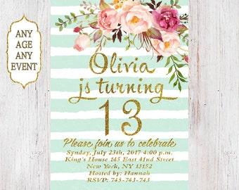 Floral Geburtstag Einladung 13. Geburtstag Einladungen Mädchen Mint  Streifen Gold Glitter, 14.,