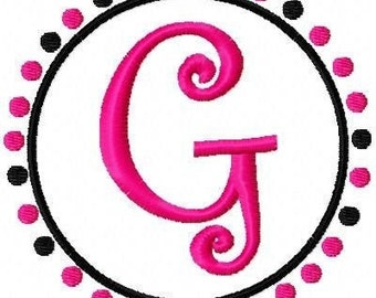 Pink and Black Dots Machine Embroidery Monogram Font Set