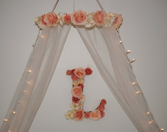 Pink Rose Crib Canopy | Flower Canopy | Girl Canopy | Nursery Canopy | Nursery Decor | Princess Canopy | Bed Canopy | Baby Canopy