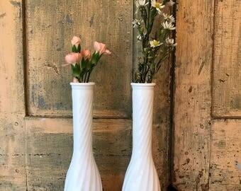 Milk Glass Bud Vases
