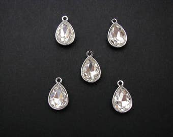 April Birthstone, clear glass faceted charm, Silver Tone, Set of 5 (1.9cm x 1.2cm)