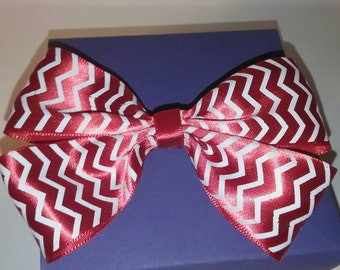 Red Zig Zag Ribbon Hair Bow