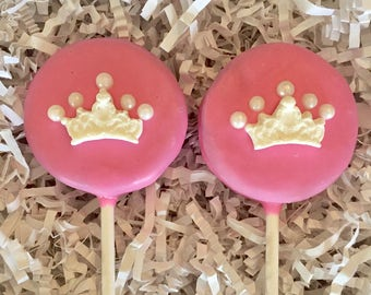 Princess crown Oreo cookie pops / girls birthday party favor / other color options /one dozen (12)