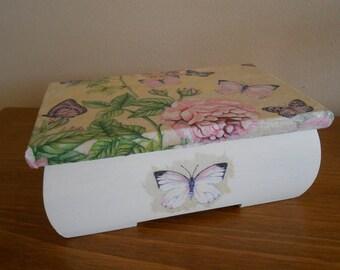 Butterfly Box, Decoupaged Box, Trinket Box, Jewellery Box, Decorated Wooden Box, Butterflies, Decoupage