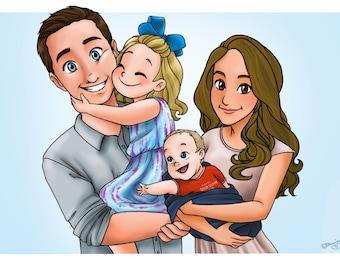 Custom Family Portrait - Disney Style