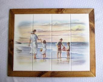 On The Beach - framed tile mural,  backsplash, decorative tile, bathroom, shower, wall art, wall hanging, framed art, beach, ocean, sunset