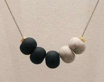 Cinco Necklace: Black + Granite