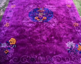 "9'10"" x 13'7"" Royal Purple Antique Chinese Rug"