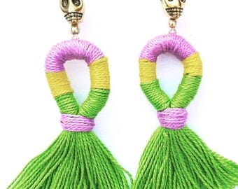 Mardi Gras Tassel Earrings Fringe Earrings